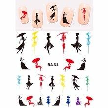 NAIL ART güzellik su çikartma çıkartma kaymak UNI renk moda gösterisi kız soyut bayan dansçı bale RA061 066