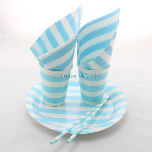 Disposable Blue Party Tableware Set Striped Paper Plates Paper Cups Wedding Party Decoration Paper  sc 1 st  AliExpress.com & Disposable Blue Party Tableware Set Striped Paper Plates Paper Cups ...