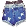 Europeu de Moda 2016 Shorts Jeans Rasgado Para As Mulheres de Cintura Alta Com Zíper Bolso Borla Marca Streetwear Ocasional Plus Size ZV08