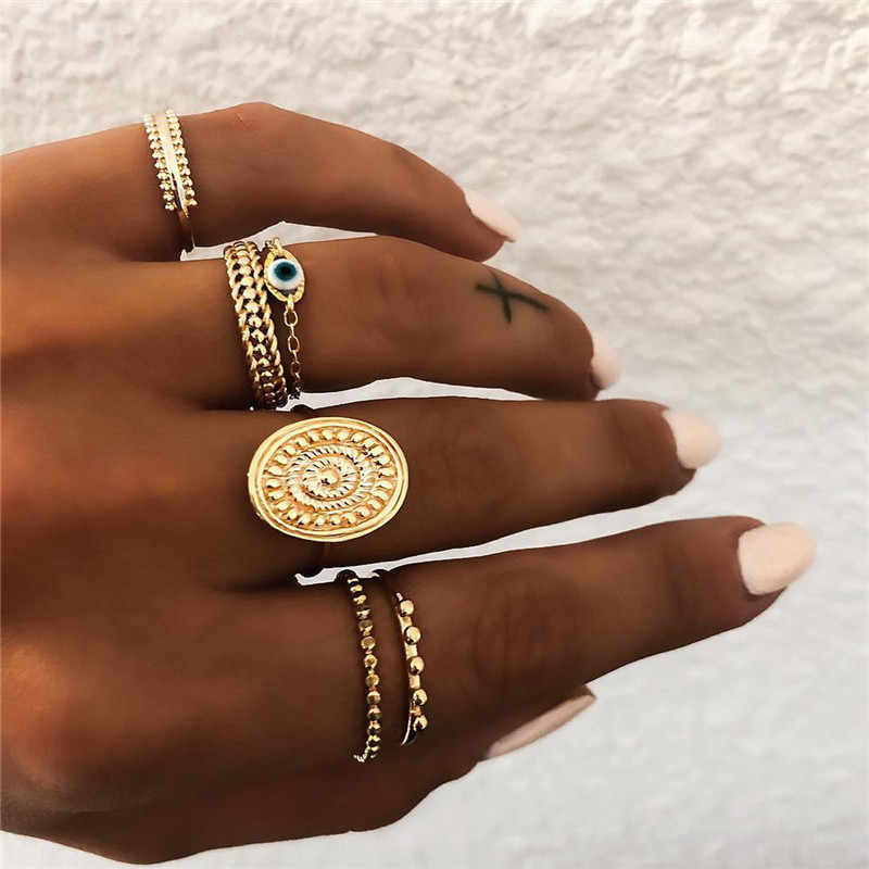ZORCVENS 6 pc/set Bohemian Gold Color Eye Flower Rings Set for Women Geometric Alloy Knuckle Midi Rings Boho Jewelry