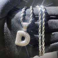 USENSET Iced Out Letter D Pendant Men's Bling Zircon Charm Gold Pendant for Women Hip Hop Christmas Charms Jewelry