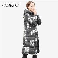 우크라이나 제한 2017 겨울 새로운 침대 T 여성 두꺼운 코트 긴 인쇄 슬림 재킷 여성 패션 따뜻한 후드 파카 16 컬러