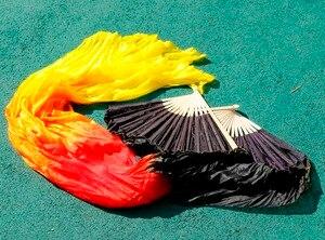Image 5 - 2018 yüksek kaliteli oryantal dans ipek hayranları el yapımı el boyalı doğal ipek 1 çift oryantal dans fanlar siyah + kırmızı turuncu + sarı