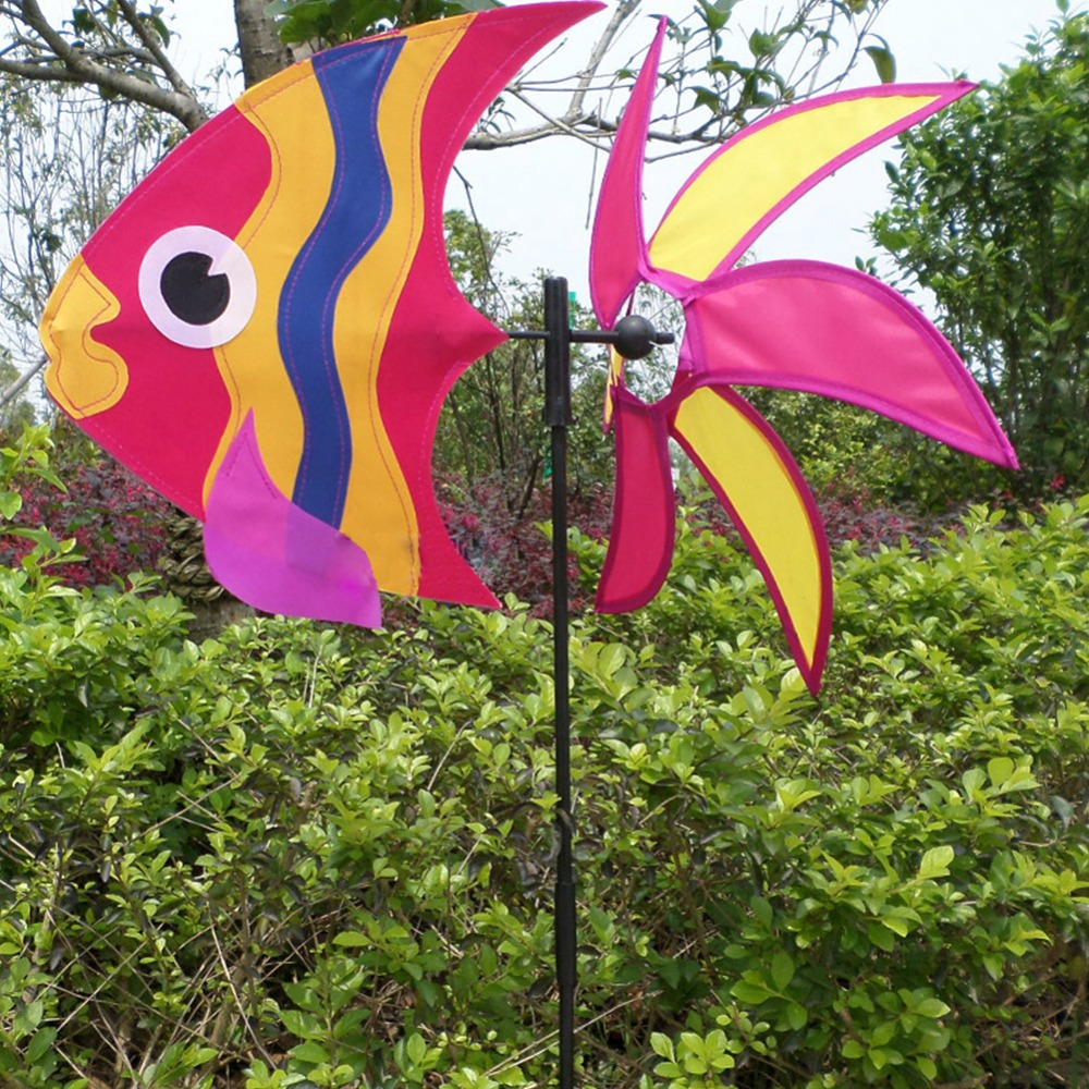 Colorful 3d sea fish windmill toy of kids wind spinner for 3d garden decoration