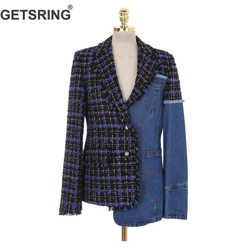 Mince Poitrine Tops Costume Longues Femmes Spliced Irrégulière Femme Getsring Jaket Manches Denim Unique Blazer Manteau À Blue Blazers Fc1Jl3KT