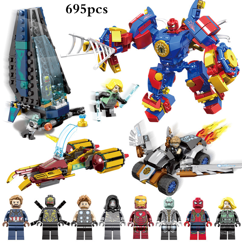 4 In 1 Super Heroes Marvel Avenger Captain America Thor Ironman Spiderman Figures Building Blocks Compatible Legoings Robot Toys building blocks marvel super heroes figures avenger attack on avengers tower educational toys compatible with legoinglys