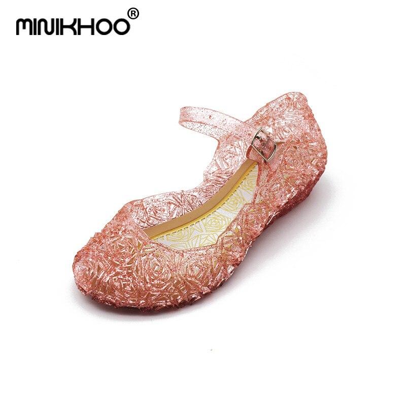 Mini Melissa Elsa Snow Princess Crystal Sandals Hollow Mini Melissa Jelly Sandals Breathable Melissa Baby Beach Sandals Shoes