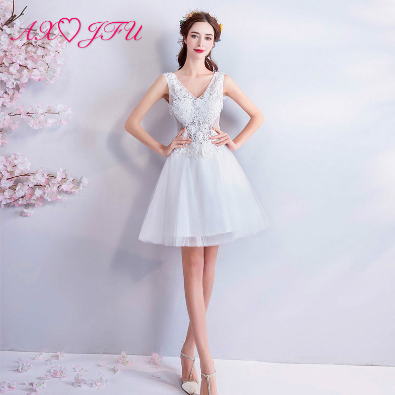 AXJFU Princess white lace flower short   evening     dress   illusion beading flower beach v neck   evening     dress   little white   dress   086t