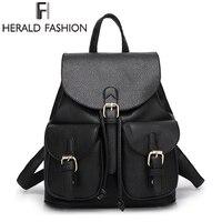 Herald Fashion PU Leather Backpacks For Women School Bags For Teenagers Girls Large Capacity Female Mochila