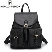 Herald Fashion Vintage Leather Backpack for Women School Bags for Teenagers Girls Female Mochila Travel Backpack Drawstring Bag(China)