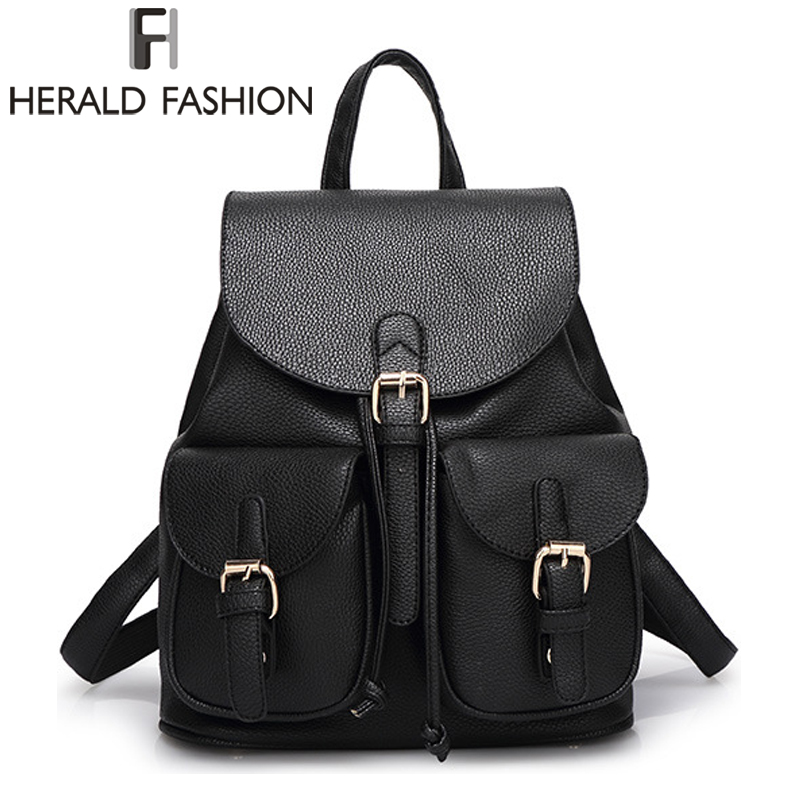 Herald Fashion Vintage Leather Backpack for Women School Bags for Teenagers Girls Female Mochila Travel Backpack Drawstring Bag