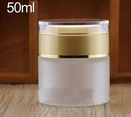 50G 50ML Frost Glass Jar with Acrylic Sand Gold Cap, High-Grade Cosmetic Packing Container Glass Packaging Bottle, 12pcs/lot high quality black acrylic cream jar gold cap empty cosmetic bottle container jar lotion pump bottle 30g 50g 30ml 50ml 120ml