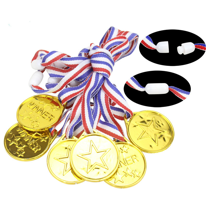 60pcs/set Children Gold Plastic Winners Medals Sports Day Party Bag Prize Awards Toys For Kids Party Fun Supplies High Quality