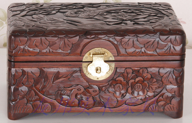 China Dongyang wood carving handmade carved wood jewelry box camphor