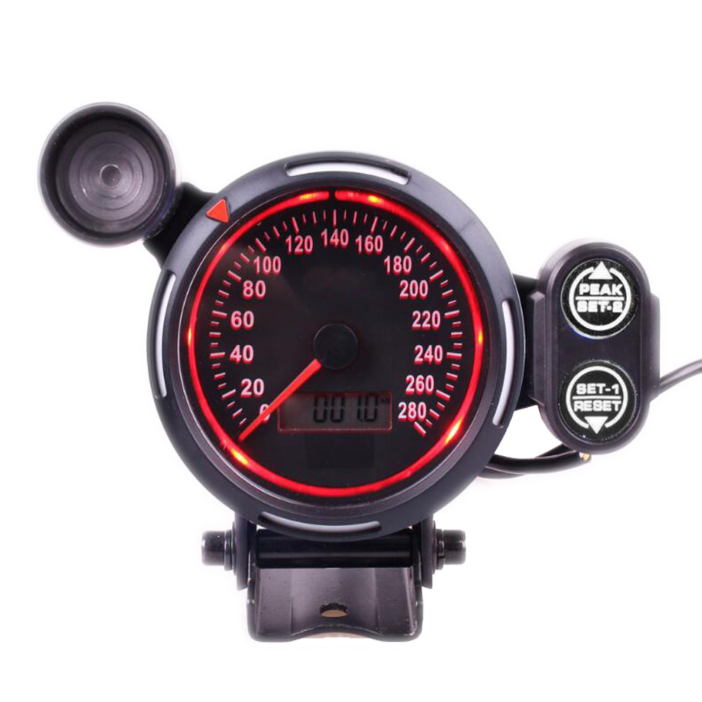 80 ミリメートルデジタル車スピードメーターゲージ 0 〜 280 MPH スピードメーターシフトのためのユニバーサル車のトラック  グループ上の 自動車 &バイク からの タコメーター の中 2