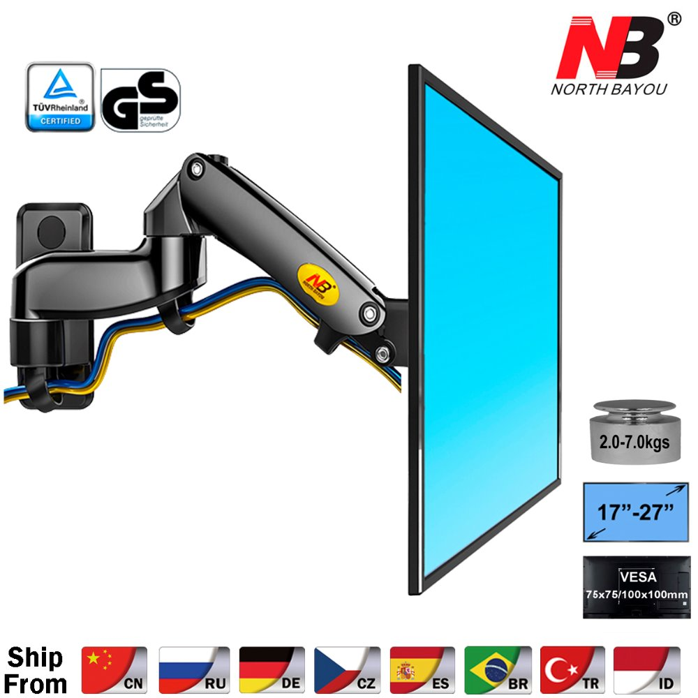 "NB F150 Aluminum Alloy 360 Degree 17"" 27"" Monitor Holder Gas Spring Arm LED LCD TV Wall Mount Loading 2 7kgs-in TV Mount from Consumer Electronics"