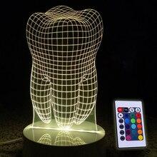 Diente 3D LED RGB Táctil Interruptor 7 De Carga de Color Luz de Noche lámpara de Mesa Lámpara de Cabecera Decoración Luz de Navidad Regalos 5 V