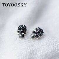 Real 925 Sterling Silver Skull Bar Earrings For Women Men Gothic Vintage Punk Jewelry Biker Ear