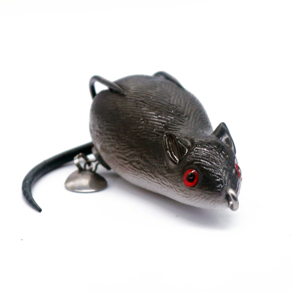 1Pcs 3D Eyes Soft Bait Mouse Fishing Lures 7cm 19.3g Floating Simulation Lures Soft Bells Sound Bass Baits Fishing Tackle
