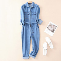 Sexy Denim Jumpsuit Women Romper Long Sleeve Belt Blue Winter Autumn Jeans Jumpsuits Female 2019 Casual Streetwear Overalls