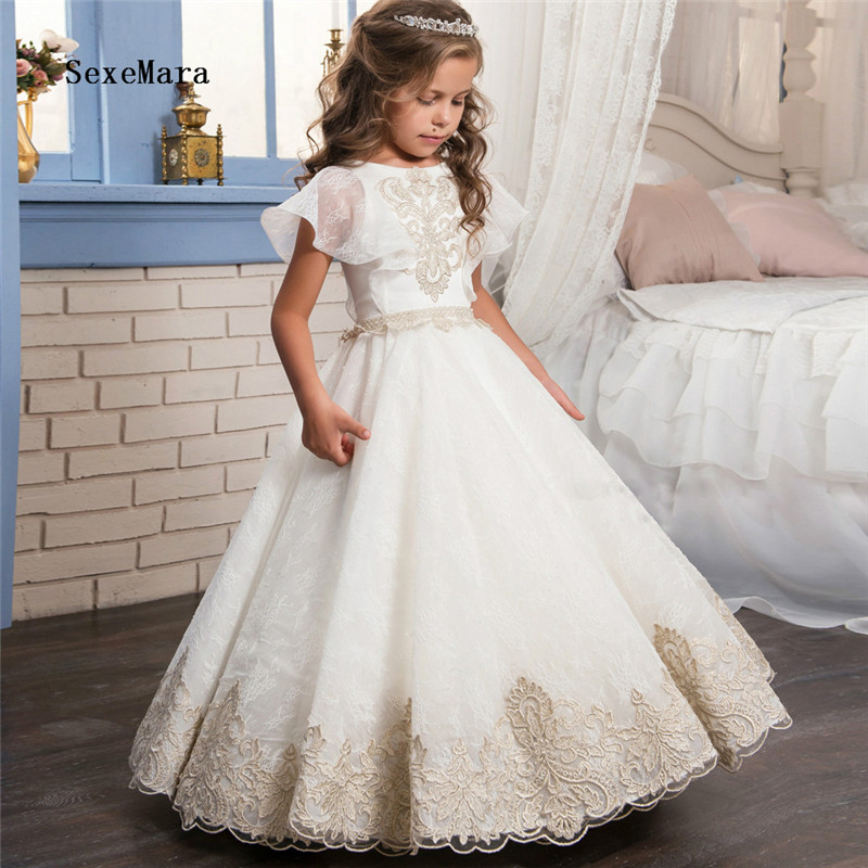 Real Picture Champagne Lace Puffy   Flower     Girls     Dress   for Wedding O Neck Tulle   Girls   Pageant   Dress   Birthday Gown Custom Made Size