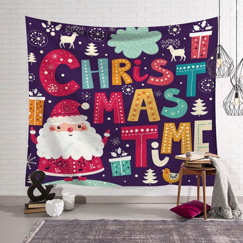 XMAS Art Wall Hanging Tapestry Ornamentation Santa Deer Snowman Christmas Decoration Blanket Table Cloth Mat Mandala Home Decor