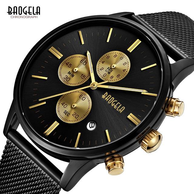 2294734c8c56 Baogela hombre cronógrafo negro correa de malla de acero inoxidable Deporte  Militar relojes de pulsera de