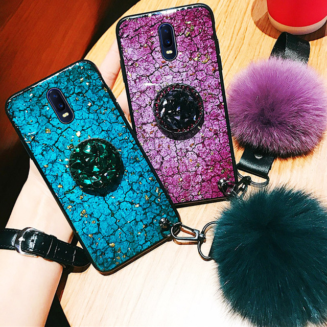 For OPPO R17 Case Luxury Phone Cover For OPPO R15 R15x R11 R11S Plus K1 Cases Hard Back Coque Hair Ball Rhinestone Stand Crack 1