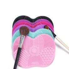 Quente! Placa de silicone para pincéis, plataforma de silicone para limpar pincéis de maquiagem, cosméticos, escovas, gel de limpeza, base, limpador de pincéis