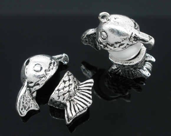 Zinc métal alliage perles casquettes poisson Antique argent (convient 10mm-14mm perles) poisson motif 10mm-23mm x 10mm-13mm, 1 ensemble nouveau