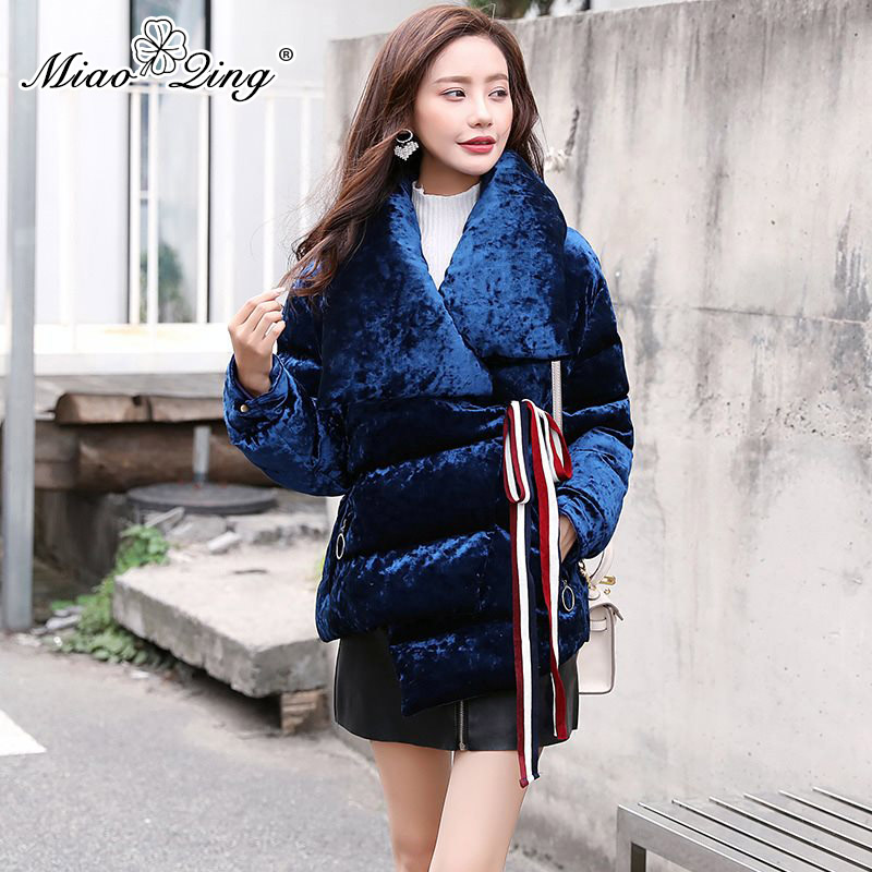 MIAOQING 2018 Warm Winter Coat Women Fashion Lace up Thick   Parka   Plus Size Velvet Jackets Clothes Asymmetric Korean Ladies Coats