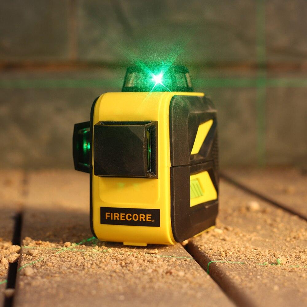FIRECORE F93T-XG 12 Lignes 3D Vert Laser Niveau LR6/batterie au lithium Auto-Nivellement Horizontal et Vertical Croix Lignes Peut utiliser Le Récepteur - 6