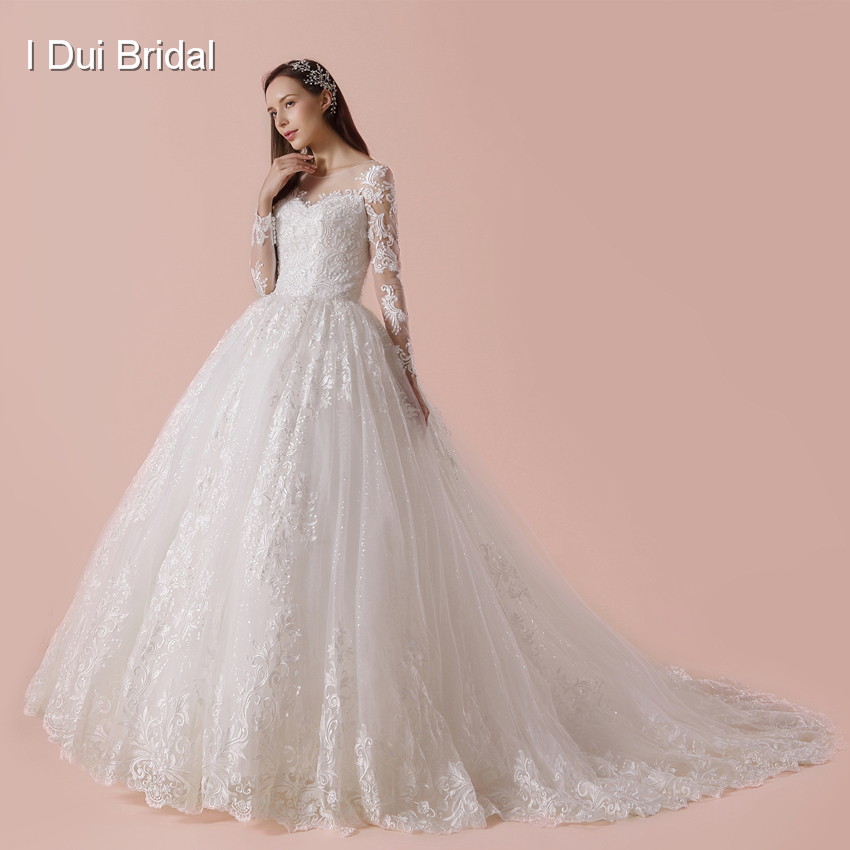 Full Ball Gown Wedding Dresses: Full Sleeve Ball Gown Wedding Dress Luxury Lace Real Photo
