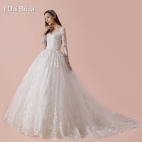 Full Sleeve Ball Gown Wedding Dress Luxury Lace Real Photo High Quality Bridal Gown 2018 New