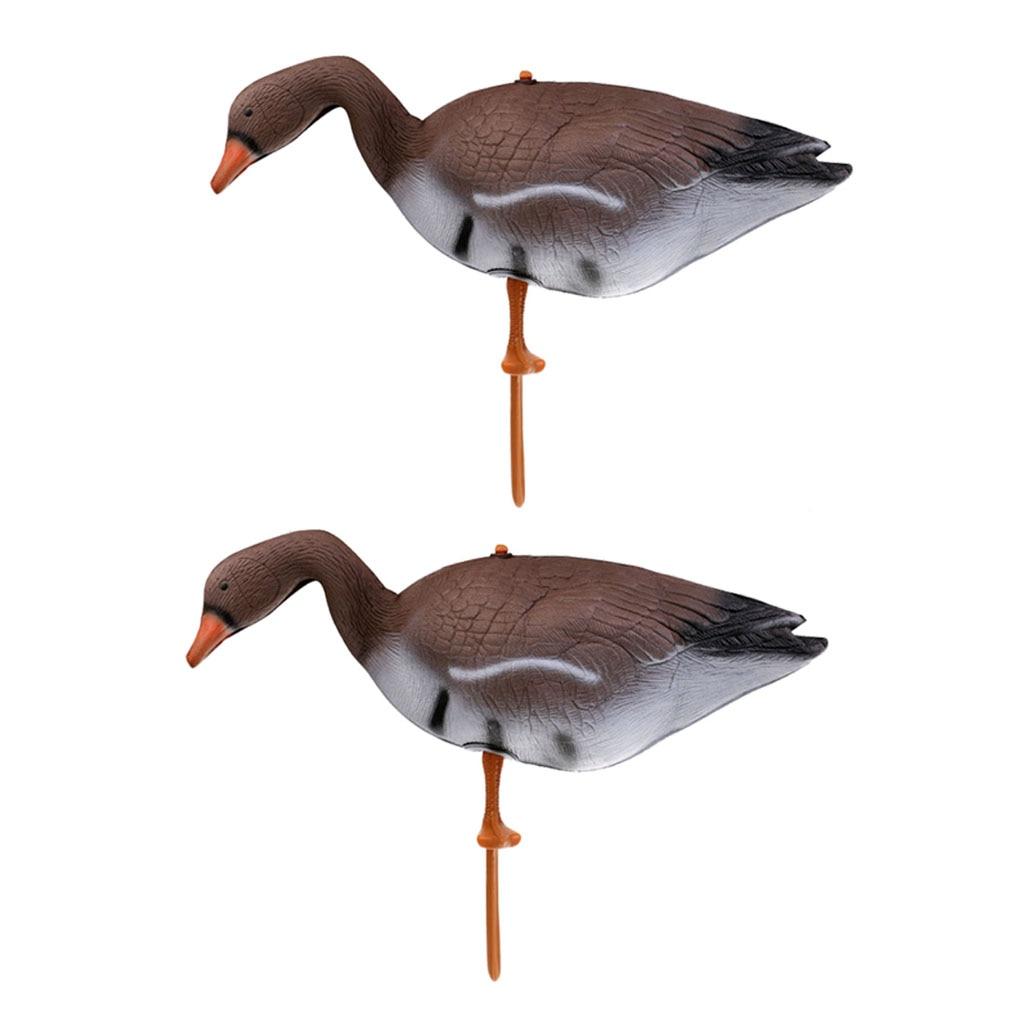 2 Pieces 3D Lifelike Full Body Goose Hunting Decoy Garden Lawn Yard Decor For Greenhand Hunter Gear