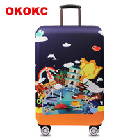 OKOKC Cartoon Scenery Elastic Thick Travel Suitcase Protective Luggage Cover Apply To 18 32 Case Suitcase