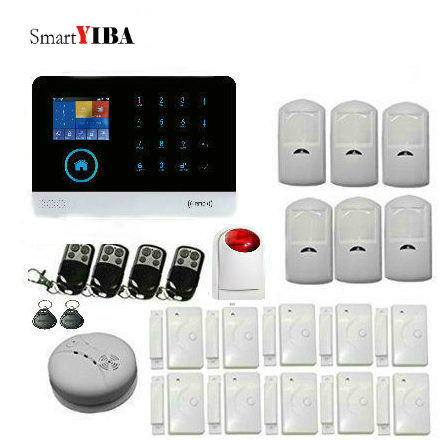 SmartYIBA RFID Wifi GSM GPRS SMS Alarm System For Home Garden Garage Security Protection With PIR Motion Sensor Door Alarm Kits yobang security rfid gsm gprs alarm systems outdoor solar siren wifi sms wireless alarme kits metal remote control motion alarm