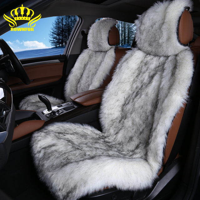 ROWNFUR Artificial Plush Car Seat Cover High Quality Faux Fur Universal Covers Interior Accessories