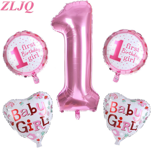 ZLJQ 5 Pieces Lovely Pink Blue Babys First Birthday Decorations 1st Boy Girl Decoration Kit For Baby Shower