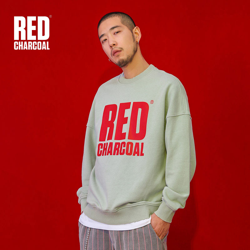 Red Charcoal 2018S Green Pull-over Sweatshirt Mens Loose Logo Print Sweatshirts Hip Hop Streetwear