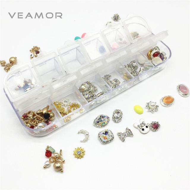 Arte Del Clavo 3D 120 unids/caja decoraciones de uñas Nail art perla mariposa conejo Chriestmas diseños de Aleación de Diamantes de Imitación Para 3D Strass