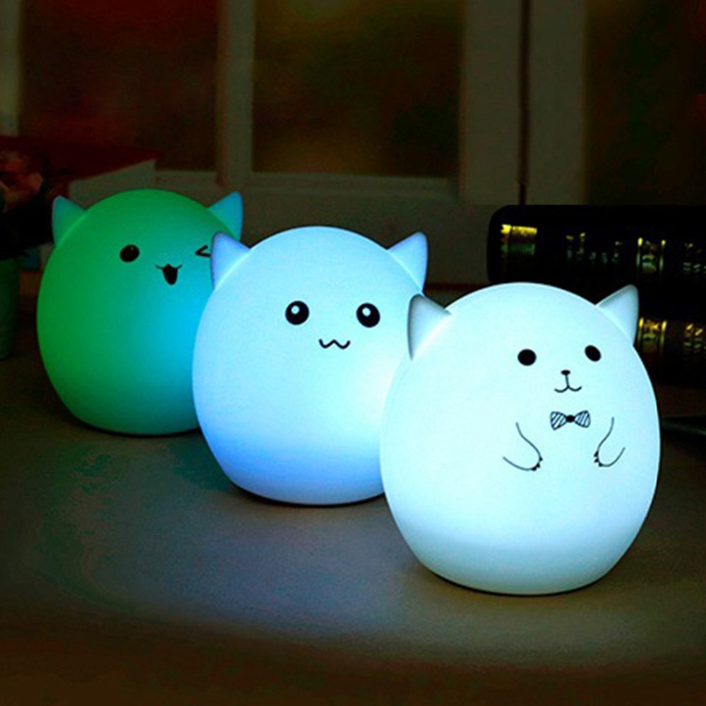Jiaderui LED Piggy Night Lights Soft Silicone Pat Lamp USB Recharge 7 Colors Changing Baby Nursery Sleep Lamp Kids Holiday Gifts