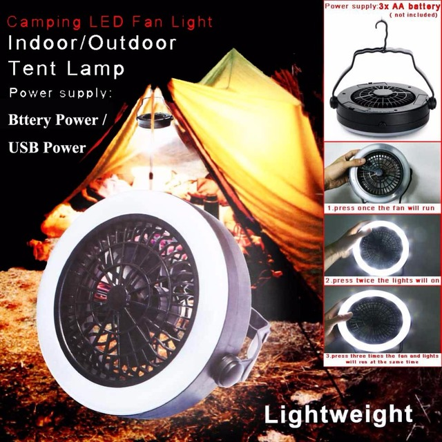 Outdoor C&ing LED Fan Tent Light 12 LED Portable Eemergency Hanging L& Lantern USE AA Battery : rechargeable tent fan - memphite.com