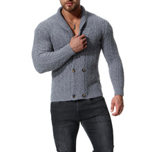 MarKyi 2018 autumn double breasted wool sweater men good quality cardigan christmas slim fit