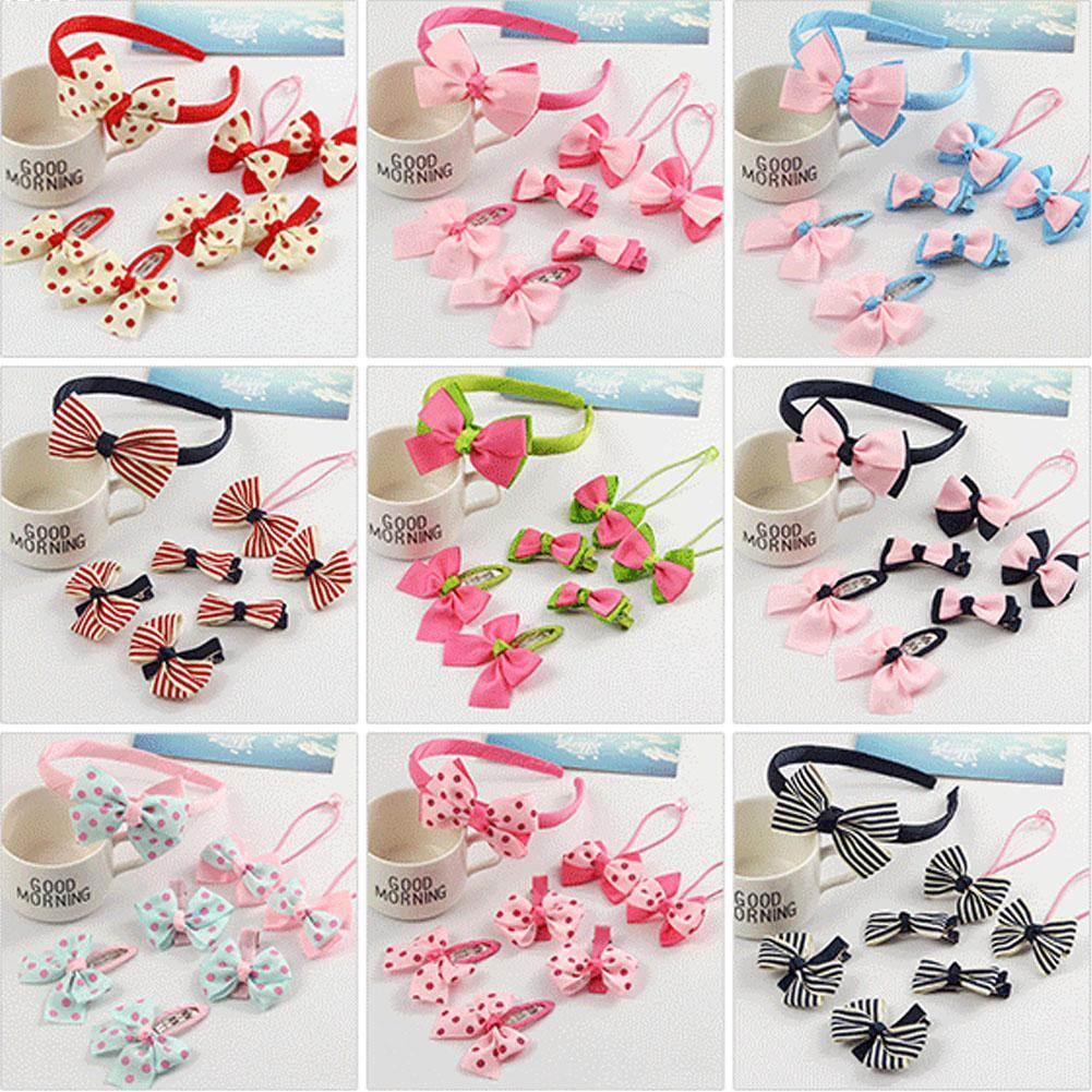 Candy Color Dot Bow Headwear Set Kids Girls Hair Clip Accessories Cute Bowknot Hairpins For Children Girl C1 5 6pcs lot headwear set children accessories ribbon bow hair clip hairpin rabbit ears for girls princess star headdress t2