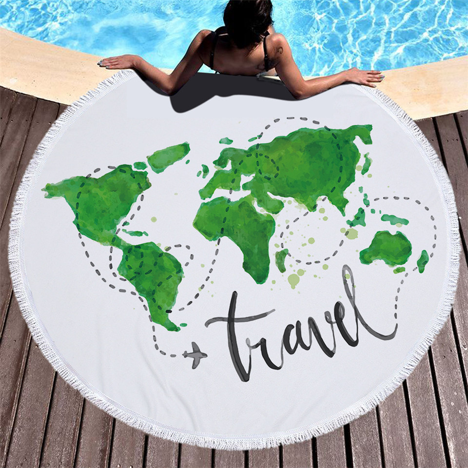Cilected Green World Map Round Roundie Beach Towel Blankets Oversized Tassel Microfiber  ...