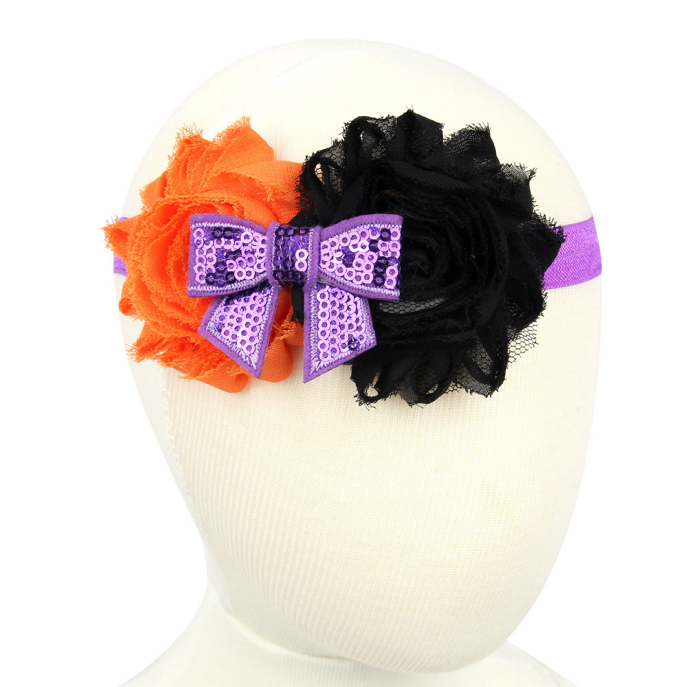 2016 Halloween Baby Flower Sequin Bow Headband Girl Children Kids Hair Accessories Cute Infant Toddler Elastic Headwear