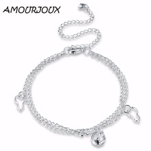 AMOURJOUX Hollow Latern Charm Silver Plated Anklets For Women Ankle Bracelet On The Leg Anklet Silver Foot Jewelry Female