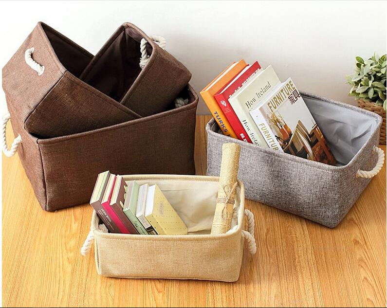 Caja de almacenamiento de ropa Organizador Plegable Ropa interior de algodón de lino Canasta de almacenamiento de lavandería Juguetes Artículos varios Organizador Canasta Almacenamiento en el hogar