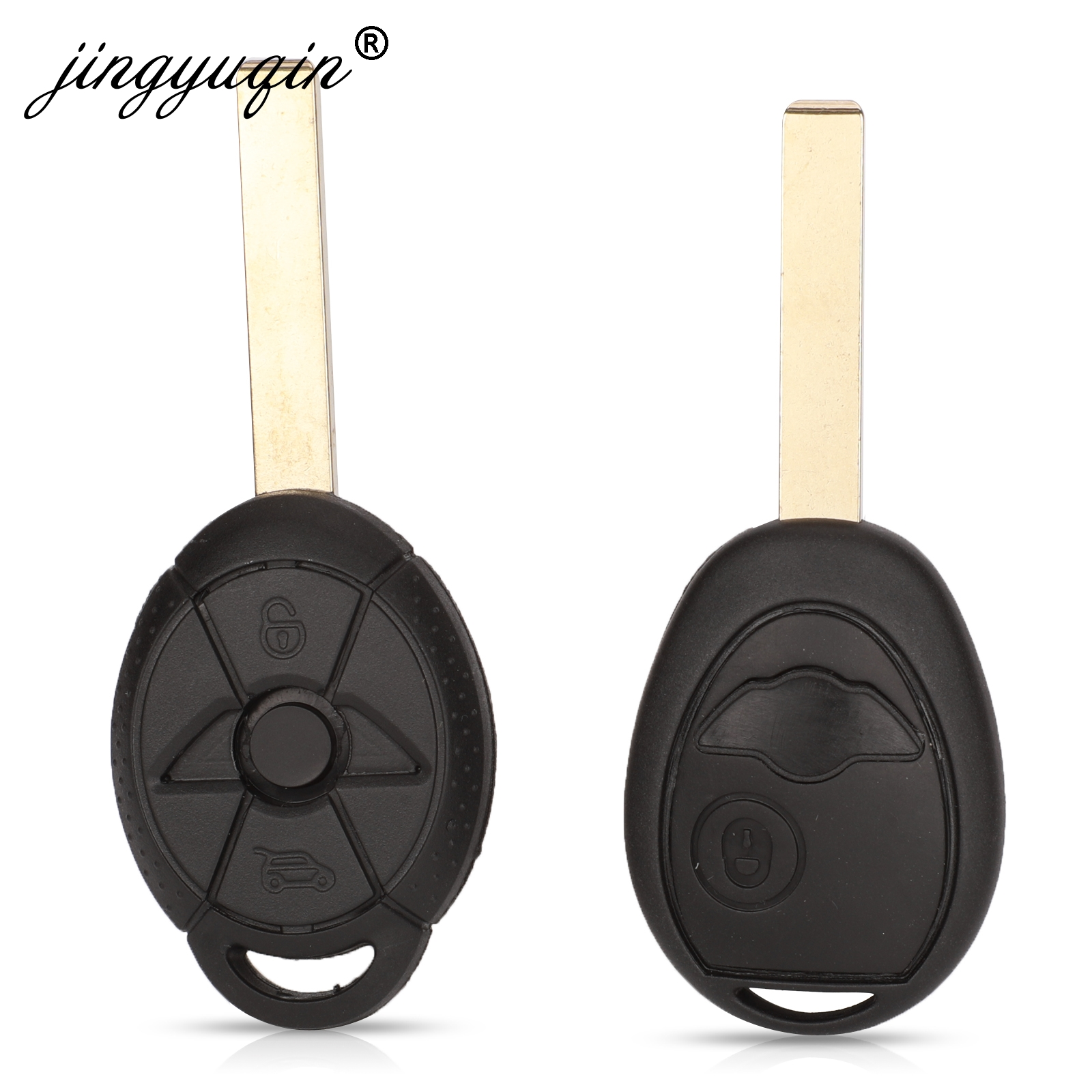 Jingyuqin Remote Key Replacement Shell Case Fob 2 Buttons For BMW Mini One Cooper R50 R53 Blank Key Cover